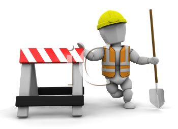 3D Road Construction Worker Leaning on a Sawhorse