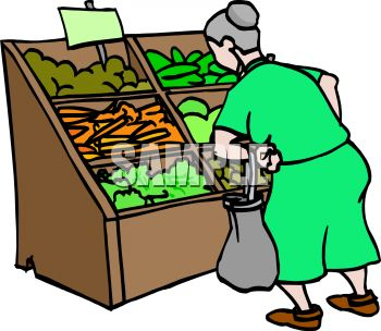 old woman looking at vegetables at the grocery store royalty free rh clipartguide com grocery store clip art free grocery store clipart black and white