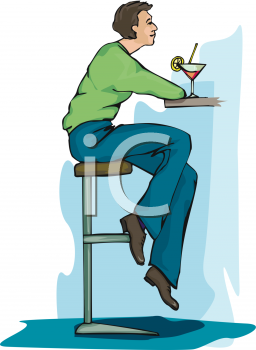 Royalty Free Clipart Image: Guy Sitting at a Bar Drinking a Martini