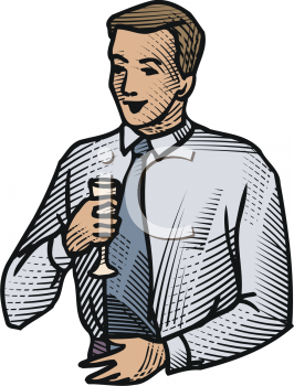 Man Wearing a Tie Drinking Champagne