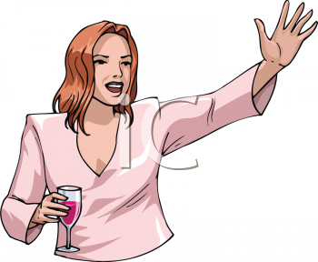 Woman Holding a Glass of Wine Waving