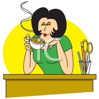 Secretary Enjoying  a Cup of Coffee at Her Desk