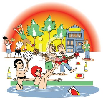 cartoon of young people having a party at the beach royalty free rh clipartguide com beach party clipart free beach party animated clipart