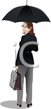 Businesswoman with an Umbrella and Briefcase
