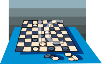 Checkers Set Up on a Checker Board