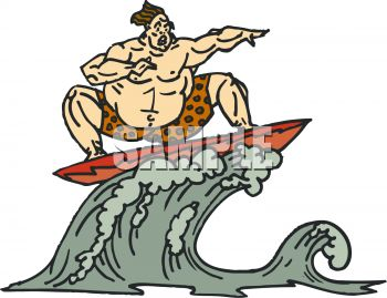 Big Guy Riding a Wave on a Surfboard