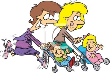 Cartoon of Mother's Jogging with Their Kids in Strollers