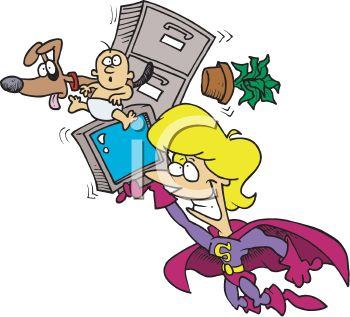 Supermom Cartoon of a Mother Doing Everthing