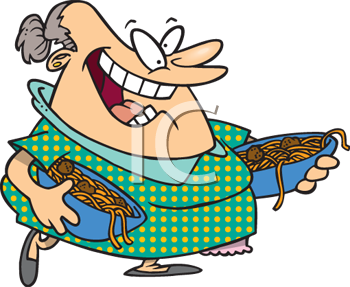 Cartoon of an Italian Mother Carrying Bowls of Spaghetti