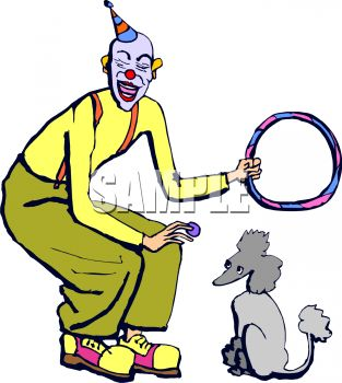 Cartoon of a Clown with His Trick Performing Poodle