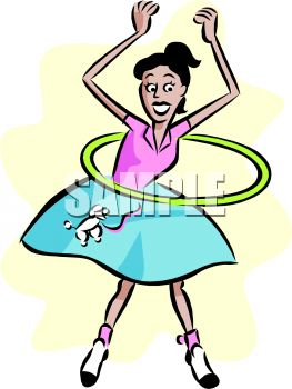 Girl Wearing a Poodle Skirt with a Hula Hoop