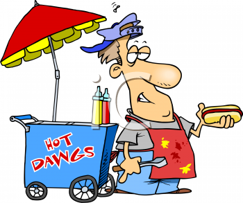 Cartoon of a Man Selling Hot Dogs from a Cart