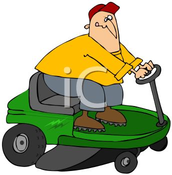 Cartoon Fat Man Mowing with a Riding Lawnmower