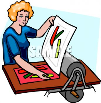 Woman Using a Manual Printing Press