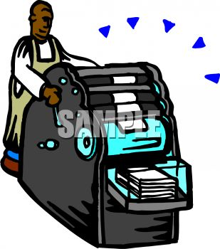 African American Man Using a Printing Press