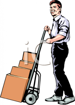Realistic Cartoon of a Guy Moving Boxes