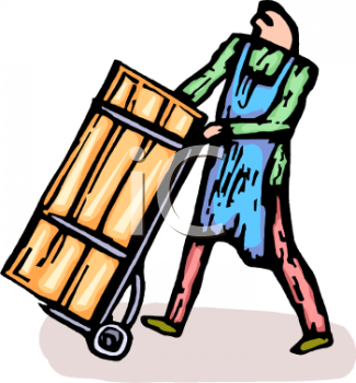 Cartoon of a Man Moving a Large Crate on a Dolly