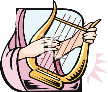 Woman Playing a Lap Harp