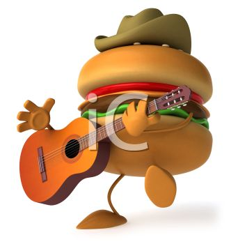 3D Hamburger Playing Guitar Wearing a Cowboy Hat
