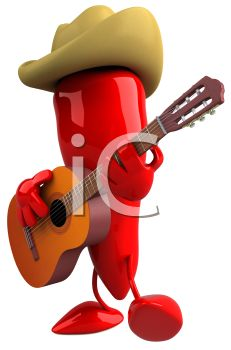 3D Chili Pepper Playing Guitar Wearing a Cowboy Hat