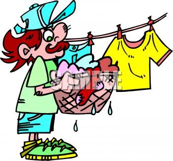 Cartoon of a Man Hanging Wet Clothes on a Clothesline