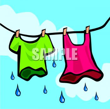 Dripping Wet Clothes Hanging on the Line