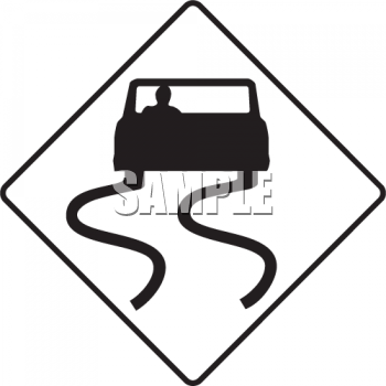 Slippery When Wet Road Sign with Car