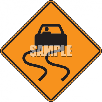 Sliding Car on a Slippery When Wet Road Sign