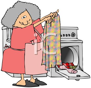 Old Lady Taking Clothes Out of a Dryer