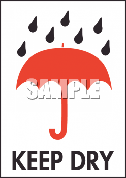 Umbrella with Raindrops and Keep Dry Text