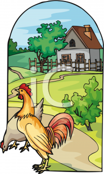 Rooster, Hen and a Farm Icon