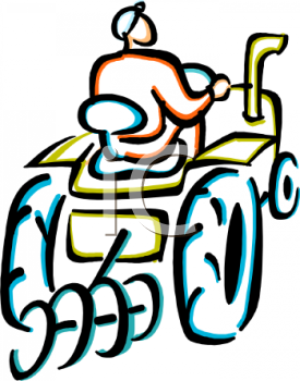Royalty Free Clip Art Image Outline of a Farmer Riding a Tractor
