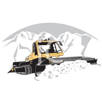 Realistic Illustration of a Snow Plow at Work