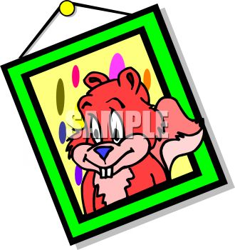 Royalty Free Clip Art Image Cartoon Framed Picture Of A Squirrel