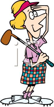 Cartoon of a Woman Playing Golf