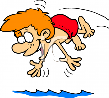 Summer Cartoon of a Red Haired Boy Diving Into a Pool