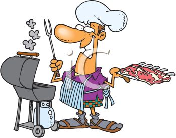 Summer Cartoon of a Dad Barbecuing Ribs Outside