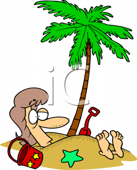 Summer Cartoon of a Woman Buried in the Sand Under a Palm Tree