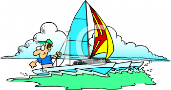 Summer Cartoon of a Guy on a Sailboat in Rough Water