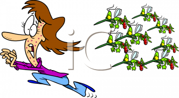 Summer Cartoon of a Woman Running from a Swarm of Wasps