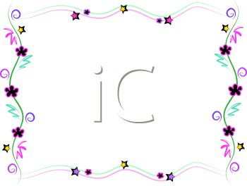 Whimsical Page Border of Stars and Flowers