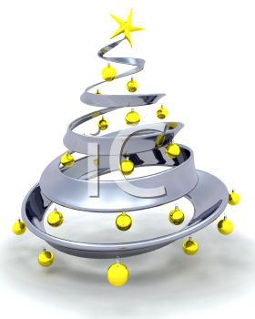 Silver 3D Christmas Tree with Gold Ornaments