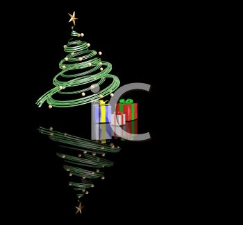 3D Christmas Tree  with Presents and a Reflection