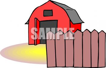 Royalty Free Clipart Image: Cartoon Red Barn with a Fence in Front