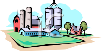 Commercial Barn With Silos And A Farmhouse