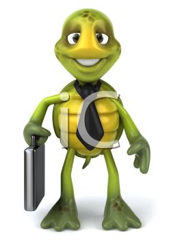 3D Turtle Businessman with a Briefcase