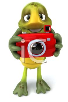 3D Turtle Taking a Photo with a Camera