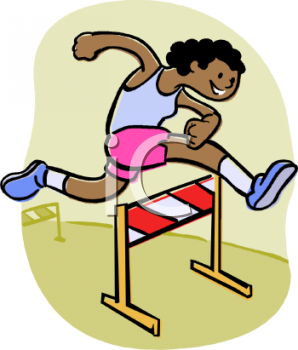 African American Track and Field Athlete Jumping Hurdles