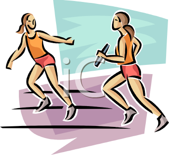 Track and Field Athletes in a Relay Race - Royalty Free Clipart Image