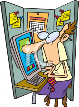 Cartoon of a Man Working in a Cramped Cubicle